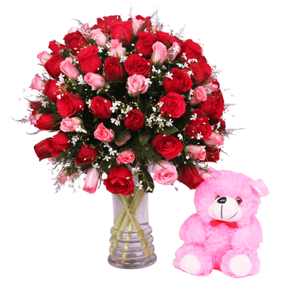 Red & Pink Roses in a Glass Vase with Teddy